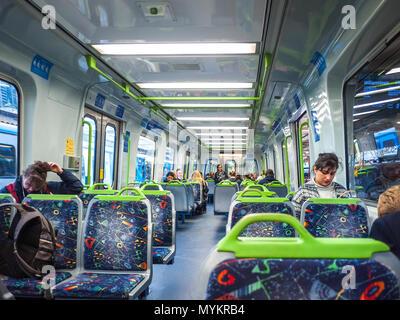 Interior of metro train in Melbourne. VIC Australia. - Stock Photo