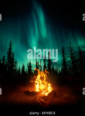 A warm and cosy campfire in the wilderness with forest trees silhouetted in the background and the stars and Northern Lights (Aurora Borealis) lightin - Stock Photo