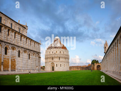 Piazza dei Miracoli known as Piazza del Duomo, an important center of European medieval art and famous UNESCO World Heritage Site with the Duomo Pisa  - Stock Photo