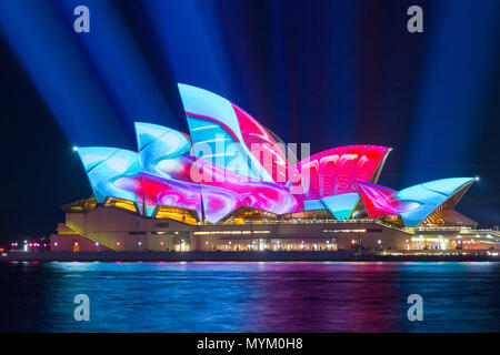 The 'Vivid Sydney' Festival takes place on Sydney Harbour in Sydney, Australia. The popular annual event, held on the shores of Sydney Harbour and previously known as the Vivid Festival, runs from May 26 to June 17, 2017. Pictured: Sydney Opera House. - Stock Photo