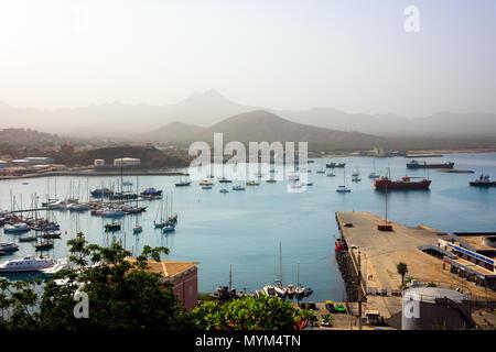 MINDELO, CAPE VERDE - DECEMBER 07, 2015: Porto Grande terminal of  Sao Vicente island with boats and ships