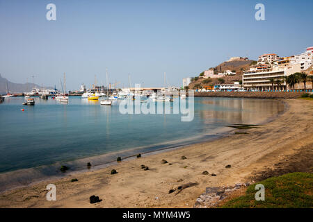 MINDELO, CAPE VERDE - DECEMBER 07, 2015: Boats and yachts in Marina of Sao Vicente island. Visible Fortim do Rei and maritime port agency AMP