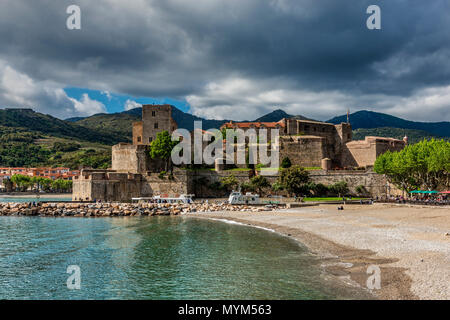 Chateau Royal, Collioure, Pyrenees-Orientales, France - Stock Photo