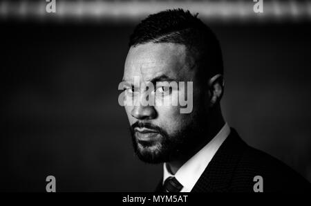 Joseph Parker during the press conference at the Dorchester Hotel, London. PRESS ASSOCIATION Photo. Picture date: Thursday June 7, 2018. Dillian Whyte and Joseph Parker will meet in a Heavyweight clash at The O2 in London on July 28. See PA story BOXING London. Photo credit should read: John Walton/PA Wire - Stock Photo