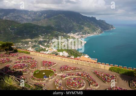 View over the Amalfi Coast from Villa Rufolo gardens, Ravello, The Amalfi Coast, Campania, Italy, Europe - Stock Photo