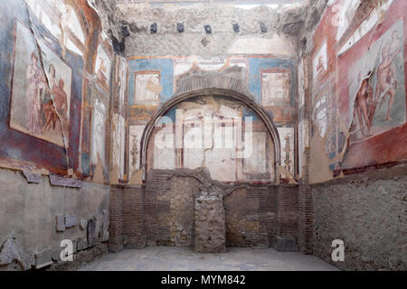 Hall of the Augustals with frescoes at the ancient Roman archaeological site of Herculaneum, Ercolano, Naples, Campania, Italy, Europe - Stock Photo
