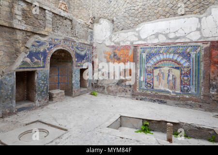 House of Neptune and Amphitrite at the ancient Roman archaeological site of Herculaneum, Ercolano, Naples, Campania, Italy, Europe - Stock Photo