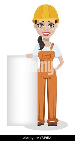 Beautiful female builder in uniform, cartoon character. Professional construction worker. Smiling repairer woman standing near blank placard. Vector i - Stock Photo