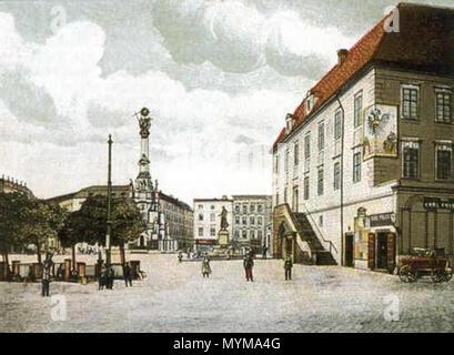 . Historical picture of Upper Square (Horní náměstí) with the Holy Trinity Column in Olomouc. 22 January 2006, 21:42 (UTC). Jan.Kamenicek 397 Olomouc Upper Square-history - Stock Photo
