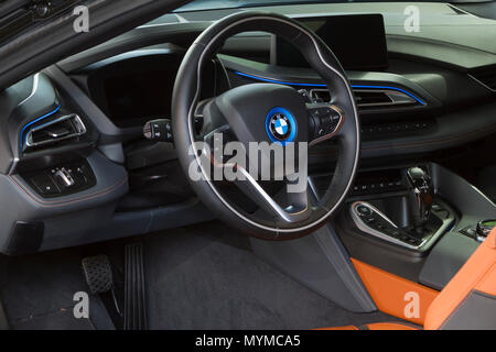 Italy 06th June 2018 Dashboard And Steering Wheel Of Hybrid Car