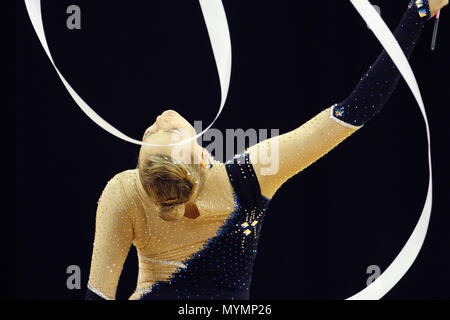 Visa Federation of International Gymnastics (FIG) - Nicol Ruprecht of Austria performs with the Ribbon during the Women's Rhythmic Olympic qualification event at the O2 Arena London 17 January 2012 --- Image by © Paul Cunningham - Stock Photo