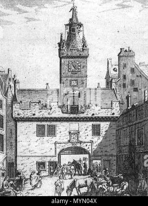 . The Netherbow, the main gate into Edinburgh, prior to its demolition in 1764. Seen from the High Street to the west (inside). before 1764. Unknown 385 Netherbow W - Stock Photo