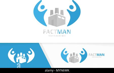 Vector factory and people logo combination. Industry and family symbol or icon. Unique manufacturing and union, help, connect, team logotype design template. - Stock Photo