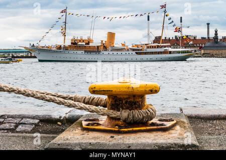 The Royal Danish Yacht 'Dannebrog' in Port of Copenhagen - Stock Photo