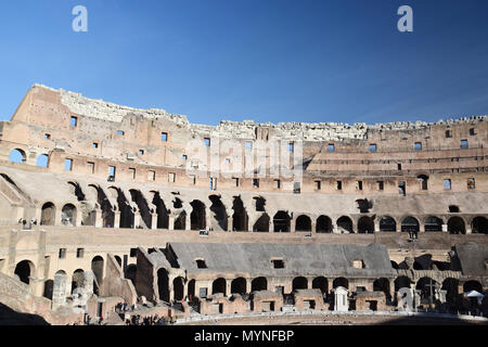 Interior view of stands and floor in the Colosseum (Coliseum) or Flavian Amphiteatre in the centre of Rome, Italy. - Stock Photo