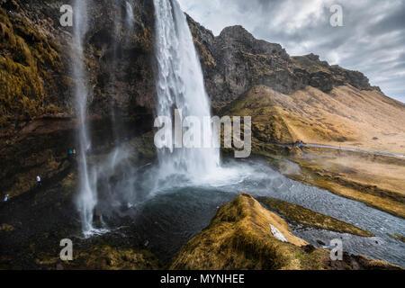 Seljalandsfoss waterfall, Iceland - Stock Photo