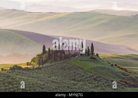Mist and sunlight in the valley over Val d'Orcia in the early morning dawn, San Quirico d'Orcia, near Pienza, Tuscany, Italy in May - Stock Photo