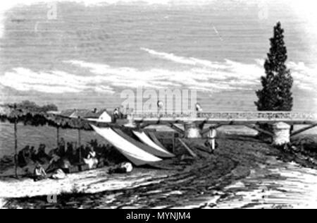 . Español: El Puente Verde sobre el río Manzanares fue una obra civil del arquitecto Pedro de Ribera en el Madrid del siglo XVIII. [1]. 1859. CAPUZ 441 Puente Verde Madrid - Stock Photo