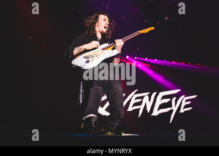 Italy: 2017 February 2nd: The English rock band Raveneye pictured performing live on stage at the Pala Alpitour, opening for the Kiss' World Tour 2017 - Stock Photo
