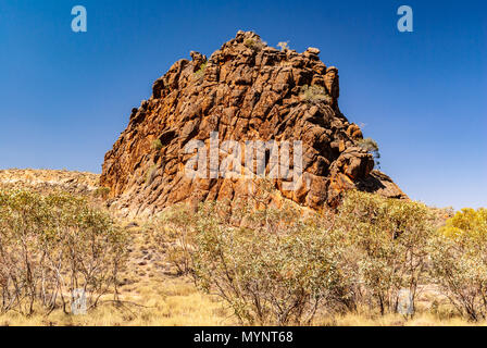 Corroboree Rock known as Antanangantana a Conservation Reserve in East MacDonnell Ranges near Alice Springs, Northern Territories, Australia - Stock Photo