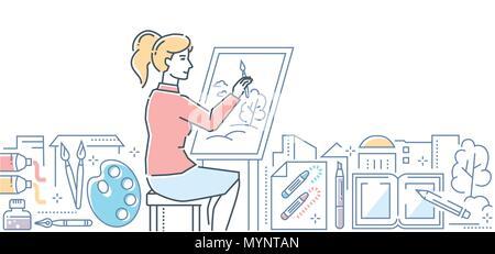 Art studio - modern line design style illustration - Stock Photo
