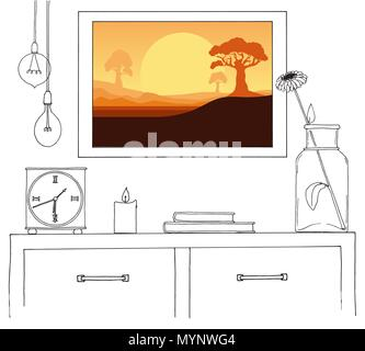 Sketch of the interior. A table, a bedside table, a shelf with various interior items. Can be used as a mock up. Frame for your graphics. - Stock Photo