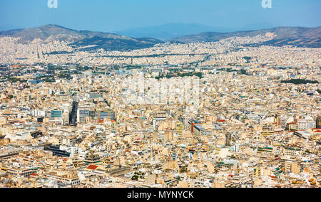 View of residental areas of Athens city from Mount Lycabettus, Greece - Stock Photo