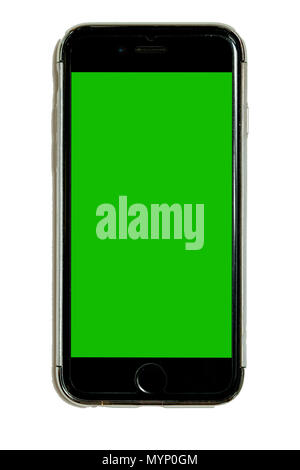 Smart phone in protective case with green chroma key touchscreen, isolated on white background, cell, mobile phone, adaptable for mockups and design,  - Stock Photo