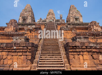 Angkor Thom, Cambodia - one the largest religious monument in the world, former capital of Khmer empire, and famous for the faces carved in the rocks - Stock Photo
