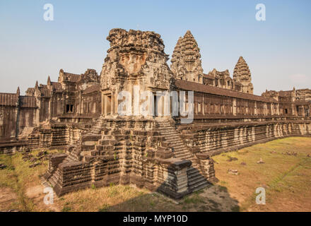 Angkor Wat, Cambodia - one the largest religious monument in the world, and the most famous landmark of the country. In the picture the main temple - Stock Photo