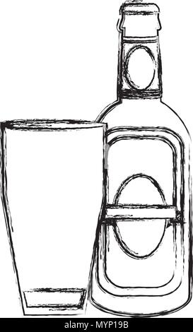 grunge schnapps liquor bottle beverage with glass - Stock Photo