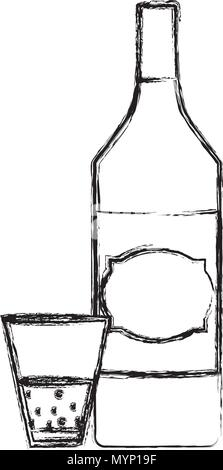 grunge schnapps liquor bottle and glass beverage - Stock Photo