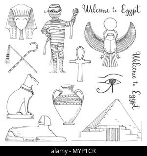 Set of elements of Egyptian culture. Vector illustration in sketch style. - Stock Photo