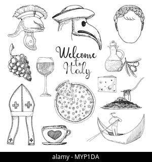 Set of elements of Italian culture. Welcome to Italy. Vector illustration in sketch style. - Stock Photo