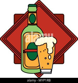 color schnapps bottle and beer glass emblem - Stock Photo