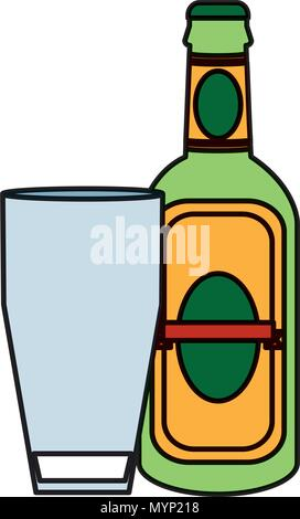 color schnapps liquor bottle beverage with glass - Stock Photo