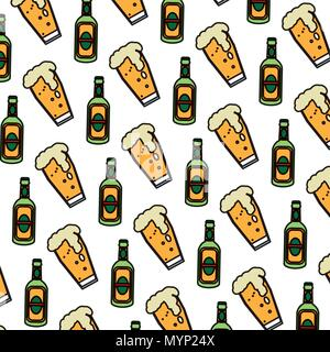 color schnapps liquor bottle and beer glass background - Stock Photo