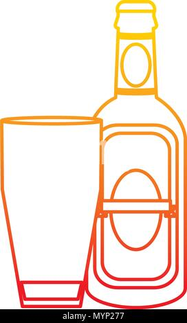 degraded line schnapps liquor bottle beverage with glass - Stock Photo