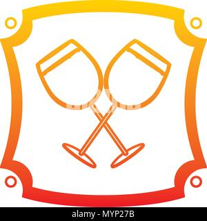 degraded line liquor brandy glass beverage emblem - Stock Photo