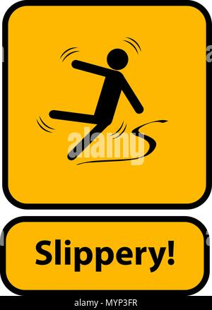 Slippery warning yellow sign - Stock Photo