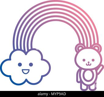 cute rainbow with cloud and teddy kawaii characters - Stock Photo