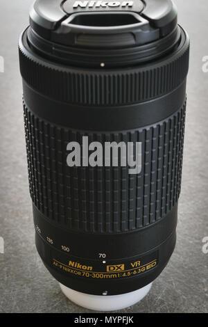 Athens, Greece - May 22 2018: Nikon AF-P Nikkor 70-300 1:4.5-6.3G ED VR DX lens - Stock Photo