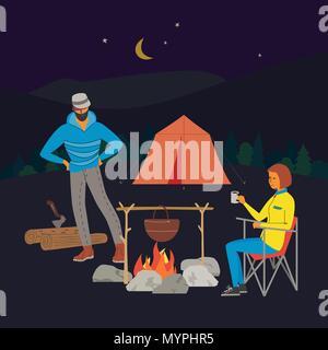 Tourist campfire concept - Stock Photo