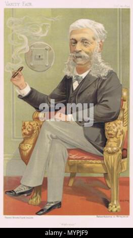 . Caricature of The Baron AJ de Rothschild. Caption read 'Alphonse'. 1894. Jean Baptiste Guth 462 Alphonse James de Rothschild Vanity Fair 1894-09-20 - Stock Photo