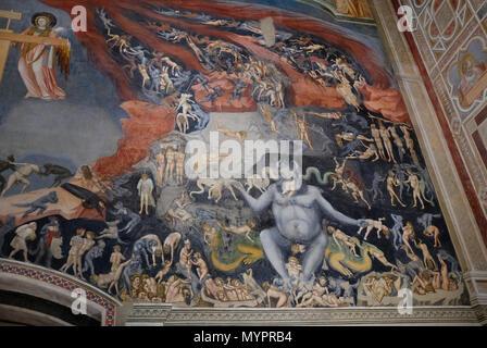 giotto fresco in the scrovegni chapel, padua, italy - Stock Photo
