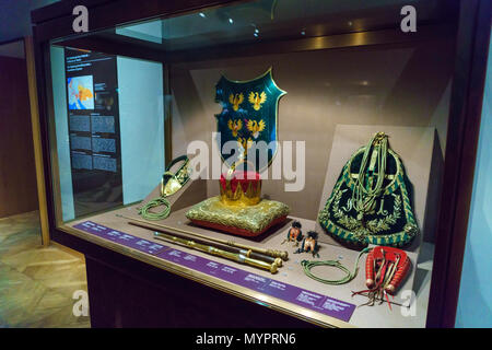 Vienna, Austria - October 22, 2017: The regalia of the Habsburg house in the Imperial Treasury or Kaiserliche Schatzkammer at the Hofburg Palace - Stock Photo
