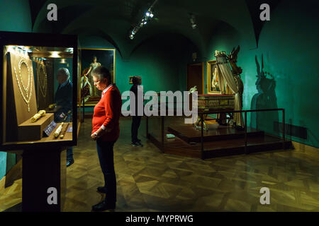 Vienna, Austria - October 22, 2017: Interior of Imperial Treasury or Kaiserliche Schatzkammer at the Hofburg Palace - Stock Photo