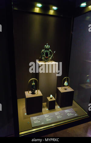 Vienna, Austria - October 22, 2017: Amethtyst, opal and hyacinth stones in the Imperial Treasury or Kaiserliche Schatzkammer at the Hofburg Palace - Stock Photo