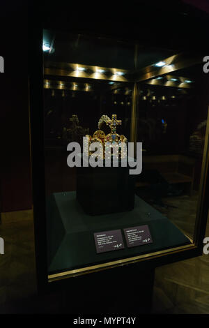 Vienna, Austria - October 22, 2017: Imperial crown in  Imperial Treasury or Kaiserliche Schatzkammer at the Hofburg Palace - Stock Photo