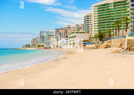 Salinas, Ecuador - April13, 2016: Modern condominium buildings facing the beach  in Salinas, Ecuador. - Stock Photo
